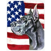 Caroline's Treasures Patriotic Great Dane USA American Flag Glass Cutting Board