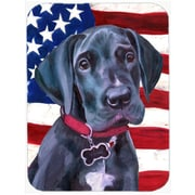 Caroline's Treasures Patriotic Great Dane Puppy USA American Flag Glass Cutting Board