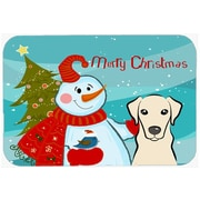 Caroline's Treasures Snowman Buddies with Labrador Glass Cutting Board; Yellow