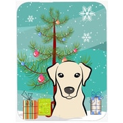 Caroline's Treasures Under the Christmas Tree and Labrador Glass Cutting Board; Yellow