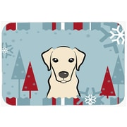 Caroline's Treasures Winter Holiday Labrador Glass Cutting Board; Yellow