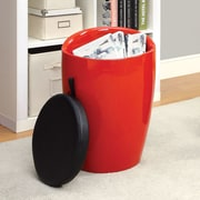 Hokku Designs Amis Storage Stool with Padded Seat; Red