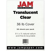 "JAM Paper® 36 lb. 8 1/2"" x 11"" Vellum Translucent Paper, Clear, 50 Sheets/Pack"