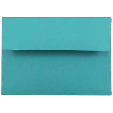 JAM Paper® 4bar A1 Envelopes, 3 5/8 x 5 1/8, Brite Hue Sea Blue Recycled, 25/pack (15794)