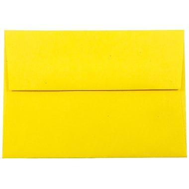JAM Paper® 4bar A1 Envelopes, 3 5/8 x 5 1/8, Brite Hue Yellow Recycled, 1000/carton (15801B)