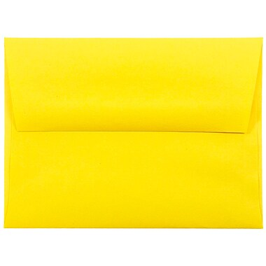 JAM Paper® A2 Invitation Envelopes, 4 3/8 x 5 3/4, Brite Hue Yellow Recycled, 25/pack (15839)