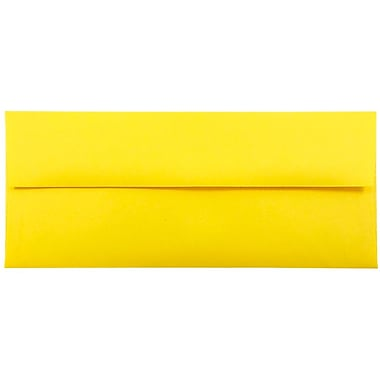 JAM Paper® #10 Business Envelopes, 4 1/8 x 9 1/2, Brite Hue Yellow Recycled, 1000/carton (15859B)