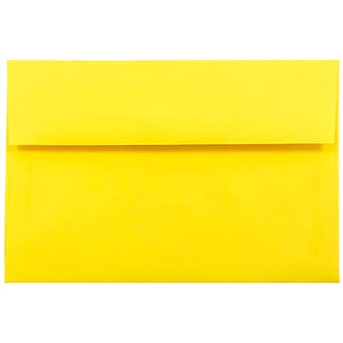 JAM Paper® A10 Invitation Envelopes, 6 x 9.5, Brite Hue Yellow Recycled, 1000/carton (28038B)