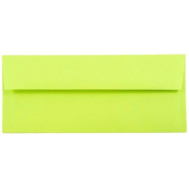 JAM Paper® #10 Business Envelopes, 4 1/8 x 9 1/2, Brite Hue Ultra Lime Green, 1000/carton (71091B)