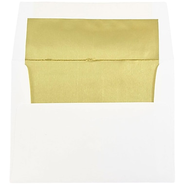 JAM Paper® A2 Foil Lined Envelopes, 4 3/8 x 5 3/4, White with Gold Lining, 25/pack (79507)