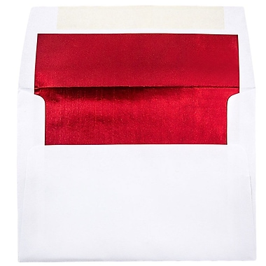 JAM Paper® A7 Foil Lined Envelopes, 5.25 x 7.25, White with Red Lining, 25/pack (83065)