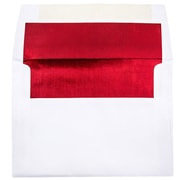 JAM Paper A7 Foil Lined Envelope, White/Red, 50/Pack
