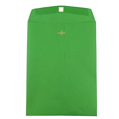 JAM Paper® 9 x 12 Open End Catalog Envelopes with Clasp Closure, Brite Hue Green Recycled, 10/pack (92912B)
