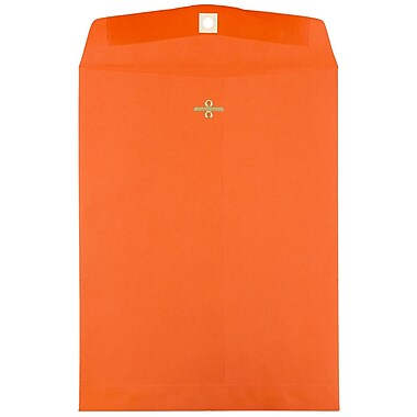 JAM Paper® 9 x 12 Open End Catalog Envelopes with Clasp Closure, Brite Hue Orange Recycled, 10/pack (92938B)