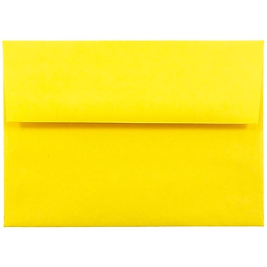 JAM Paper® A6 Invitation Envelopes, 4.75 x 6.5, Brite Hue Yellow Recycled, 25/pack (94531)
