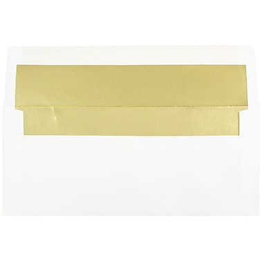 JAM Paper® #10 Foil Lined Business Envelopes, 4 1/8 x 9 1/2, White with Gold Lining, 25/pack (95165)