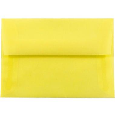 JAM Paper® 4bar A1 Envelopes, 3 5/8 x 5 1/8, Yellow Translucent Vellum, 25/pack (1591616)