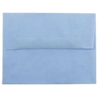 JAM Paper® A2 Invitation Envelopes, 4 3/8 x 5 3/4, Surf Blue Translucent Vellum, 25/pack (1591647)