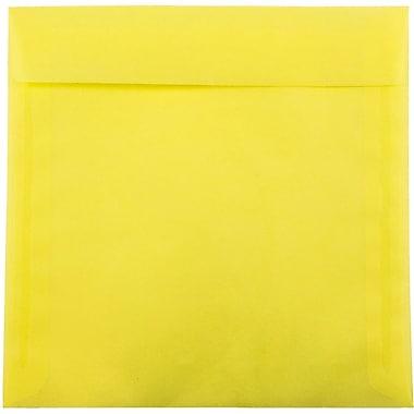 JAM Paper® 9.5 x 9.5 Square Envelopes, Yellow Translucent Vellum,100/pack (1592138B)