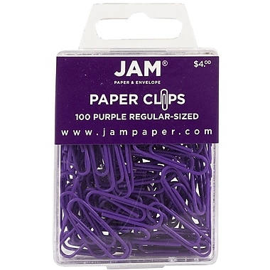 JAM Paper® Regular Colored Paper Clips, Purple, 100/Box