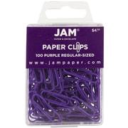 JAM Paper® Regular Colored Paper Clips, Purple, 100/Box