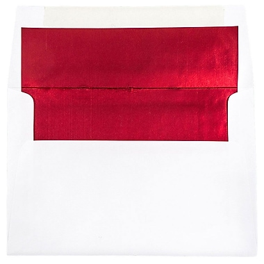 JAM Paper® A8 Foil Lined Envelopes, 5.5 x 8.125, White with Red Lining, 25/pack (3243657)
