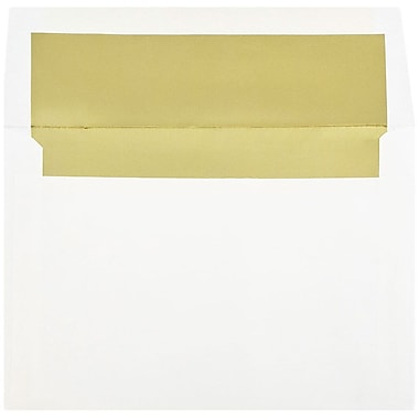 JAM Paper® A8 Foil Lined Envelopes, 5.5 x 8.125, White with Gold Lining, 25/pack (3243664)