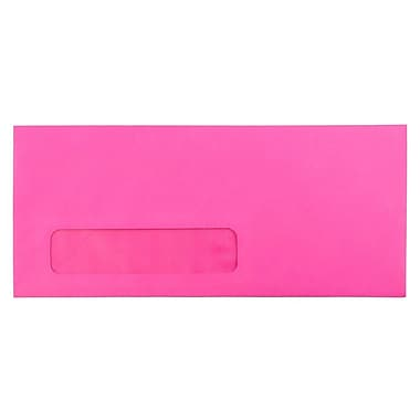 JAM Paper® #10 Window Envelopes, 4 1/8 x 9 1/2, Brite Hue Ultra Fuchsia Pink, 25/pack (5156479)