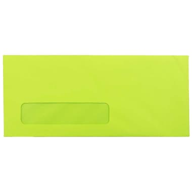 JAM Paper® #10 Window Envelopes, 4 1/8 x 9 1/2, Brite Hue Ultra Lime Green, 1000/carton (5156480B)