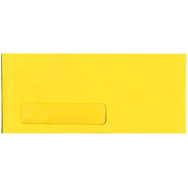 JAM Paper® #10 Window Envelopes, 4 1/8 x 9 1/2, Brite Hue Yellow Recycled, 25/pack (5156482)
