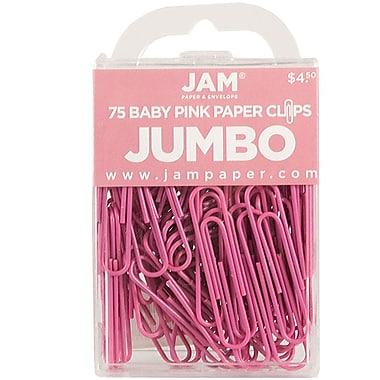 JAM Paper® Colored Jumbo Paper Clips, Large, Pink Paperclips, 75/pack (42186873)