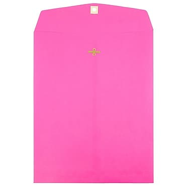JAM Paper® 9 x 12 Open End Catalog Envelopes with Clasp Closure, Brite Hue Ultra Fuchsia Pink, 10/pack (90909027B)