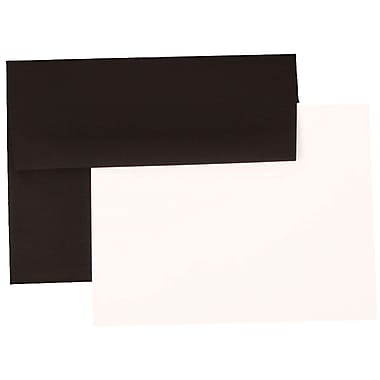 JAM Paper® A6 Recyled Linen Stationery Set With 25 White Cards & Invitation Envelopes, Black