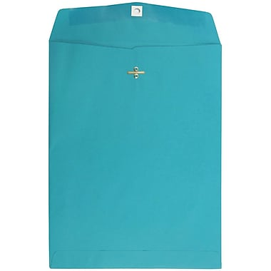 JAM Paper® 10 x 13 Open End Catalog Envelopes with Clasp Closure, Brite Hue Sea Blue Recycled, 100/pack (900766073)
