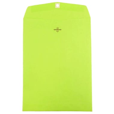 JAM Paper® 9 x 12 Open End Catalog Envelopes with Clasp Closure, Brite Hue Ultra Lime Green, 100/pack (900835395)