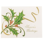 JAM Paper® Christmas Holiday Cards Set, Holly with Gold Ribbon, 25/pack (52614492L)