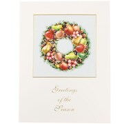 "JAM Paper Fruit Wreath Holiday Christmas Card Box Set, 5.75"" x 7.75"", 25/Pack (52614492P)"
