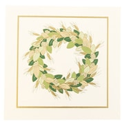 "JAM Paper Gold & Green Wreath Christmas Card Box Set, 6.5"" x 6.5"", 25/Pack (52614492U)"