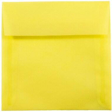 JAM Paper® 5.5 x 5.5 Square Envelopes, Yellow Translucent Vellum, 25/pack (PACV506)