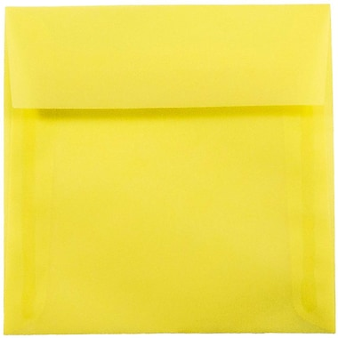 JAM Paper® 6.5 x 6.5 Square Envelopes, Yellow Translucent Vellum, 25/pack (PACV526)