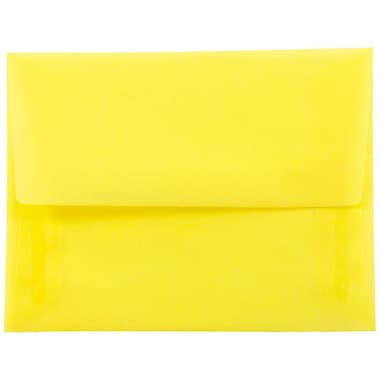 JAM Paper® A2 Invitation Envelopes, 4 3/8 x 5 3/4, Yellow Translucent Vellum, 25/pack (PACV606)