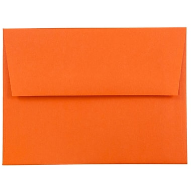 JAM Paper® A2 Invitation Envelopes, 4 3/8 x 5 3/4, Brite Hue Orange Recycled, 1000/carton (WDBH602B)
