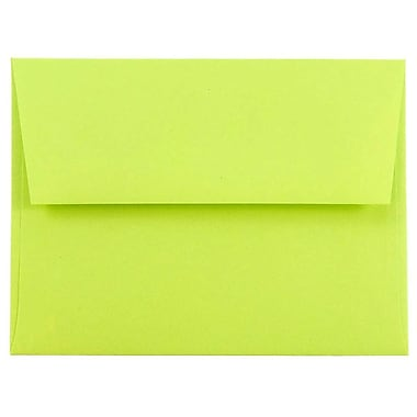 JAM Paper® A2 Invitation Envelopes, 4 3/8 x 5 3/4, Brite Hue Ultra Lime Green, 25/pack (WDBH610)