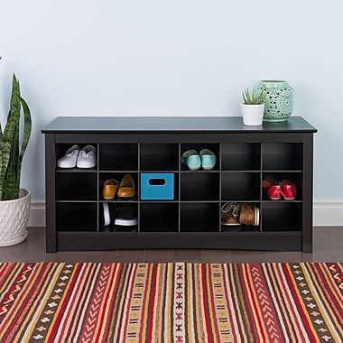 Prepac™ Composite Wood Shoe Storage Cubbie Bench, Black