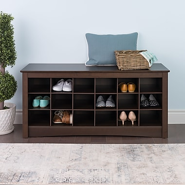 Prepac™ Composite Wood Shoe Storage Cubbie Bench, Espresso