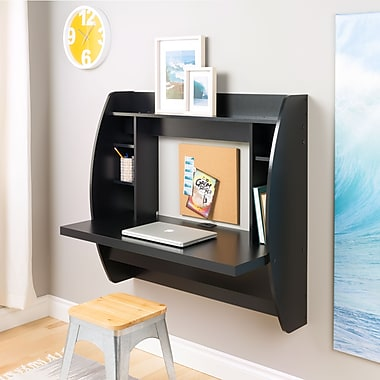 Prepac Wall Mounted Floating Desk with Storage, Black (BEHW-0200-1)