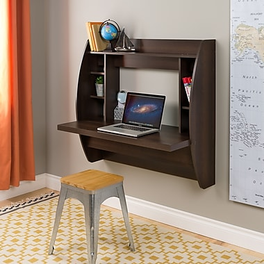 Prepac Wall Mounted Floating Desk with Storage, Espresso (EEHW-0200-1)