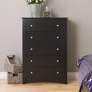 "Prepac™ 45.25"" Sonoma 5 Drawer Chest, Black"