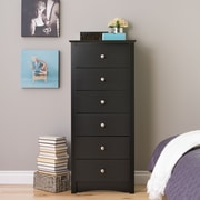 "Prepac™ 53.25"" Sonoma Tall 6 Drawer Chest, Black"