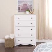 "Prepac™ 45.25"" Monterey 5 Drawer Chest, White"